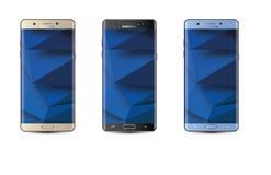 Illustration réaliste d'écran tactile de téléphone portable d'Android de bord de la note 7 de galaxie de Samsung de vecteur Images libres de droits