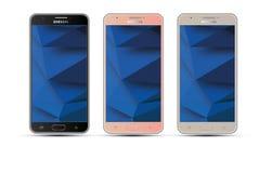 Illustration réaliste d'écran tactile de téléphone portable de la galaxie J7 Android de Samsung de vecteur Image libre de droits
