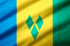 Illustration réaliste de drapeau du Saint-Vincent-et-les Grenadines illustration de vecteur