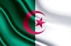 Illustration réaliste de drapeau de l'Algérie illustration libre de droits