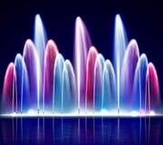 Illustration réaliste de fontaine colorée de nuit de Lit illustration stock