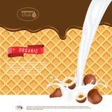 Illustration réaliste de vecteur d'éclaboussure de lait avec des noisettes Chocolat fondant avec le fond de gaufrettes Préparez l illustration de vecteur