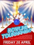 Illustration réaliste de vecteur d'affiche de tournoi de bowling illustration libre de droits