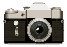 Illustration réaliste de vecteur d'appareil-photo de vintage sur le fond blanc Photos libres de droits