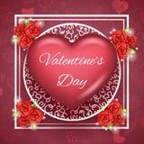 Illustration réaliste de vecteur d'icône du symbole 3d de conception haute de moquerie de Valentine Day Greating Card Template de Images stock