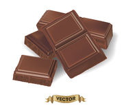 Illustration réaliste de vecteur de barre de chocolat cassée Image stock