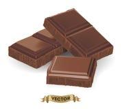 Illustration réaliste de vecteur de barre de chocolat cassée Images libres de droits