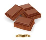 Illustration réaliste de vecteur de barre de chocolat cassée Photo stock