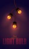 Illustration réaliste de vecteur de couleur guirlande rougeoyante d'ampoule sur le fond de gradient Calibre pour la carte de voeu Photos stock