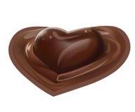 Illustration réaliste de vecteur de dessert en forme de coeur liquide fondu par chocolat sur le fond blanc Photos libres de droits