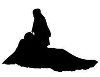 Illustration réaliste de vecteur de silhouette de jeune mariée Image stock