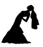 Illustration réaliste de vecteur de silhouette de jeune mariée Images stock