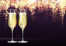 Illustration réaliste de vecteur des verres de champagne sur le fond d'or brouillé de vacances illustration libre de droits
