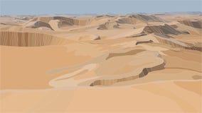 Illustration réaliste de vecteur de dunes de sable de désert Photos libres de droits