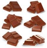 Illustration réaliste de vecteur, ensemble de barres de chocolat cassées Photo libre de droits