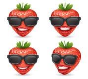 Illustration réaliste de vecteur de personnage de dessin animé de fraise de conception de fruit des lunettes de soleil 3d Image stock