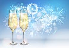 Illustration réaliste de vecteur de verre de champagne sur le fond de feu d'artifice de vacances illustration libre de droits