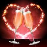 Illustration réaliste de vecteur de verre de champagne sur le fond rouge brouillé d'étincelle de vacances illustration de vecteur