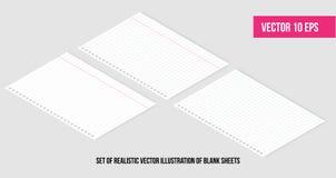 Illustration réaliste isométrique de vecteur des pages blanches de la place et du papier rayé d'un bloc Vecteur facilement editab illustration libre de droits