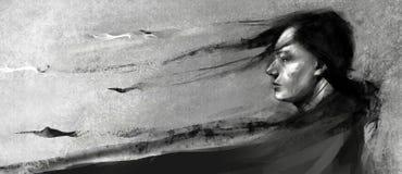 Illustration réaliste/résumé d'un homme avec de longs cheveux et longs vêtements foncés regardant vers l'horizon photo stock