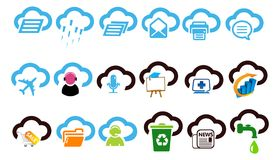 Illustration réglée de calcul d'icône de nuage illustration stock