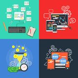 Illustration réglée de concept de vecteur de bannière plate d'affaires Élément de conception pour l'application et le service num Illustration de Vecteur