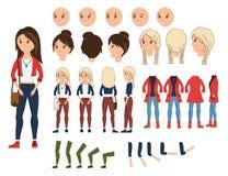 Illustration réglée de vecteur de création de caractère de fille Constructeur féminin avec diverse émotion sur le visage, main, j illustration stock