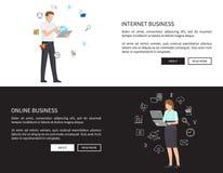 Illustration réglée de vecteur d'affaires en ligne d'Internet illustration libre de droits