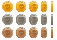 Illustration réglée de vecteur d'animation de crâne de pièce de monnaie de jeu Photographie stock libre de droits