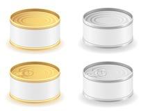 Illustration réglée de vecteur d'icônes de boîte en fer blanc en métal Images stock