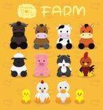 Illustration réglée de vecteur de bande dessinée de ferme animale de poupées Photos libres de droits