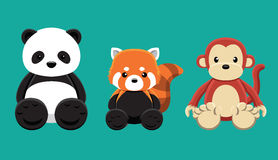 Illustration réglée de vecteur de bande dessinée de Panda Red Panda Monkey Doll Image stock