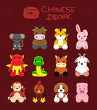Illustration réglée de vecteur de bande dessinée de zodiaque chinois animal de poupées Photo libre de droits