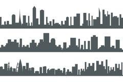 Illustration réglée de vecteur de calibre d'icône de concept de paysage de ville de silhouette sans couture urbaine de Real Estat Images stock