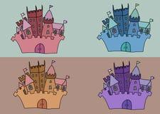 Illustration réglée de vecteur de château Images libres de droits