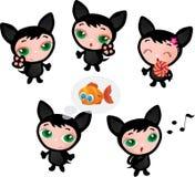 Illustration réglée de vecteur de chaton drôle mignon Photographie stock libre de droits
