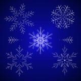 Illustration réglée de vecteur de l'hiver de flocon de neige Image libre de droits