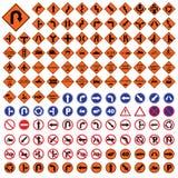 Illustration réglée de vecteur de panneau routier bleu de rouge orange de poteau de signalisation Photographie stock libre de droits