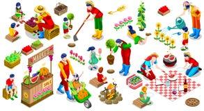 Illustration réglée de vecteur de personnes d'usine d'arbre d'icône isométrique de famille Photo stock