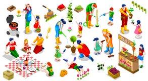 Illustration réglée de vecteur de personnes de famille d'usine d'icône isométrique d'arbre
