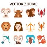 Illustration réglée de vecteur de silhouettes de signes de zodiaque d'astrologie colorée d'horoscope Image libre de droits