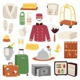 Illustration réglée de vecteur de valise de bagage de réception de service de symbole de voyage d'icône d'hôtel ou de logement illustration stock