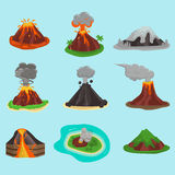 Illustration réglée de vecteur de volcan Images stock