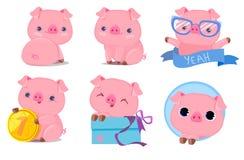 Illustration réglée de vecteur de porc mignon le chef heureux de crabots mignons effrontés de personnage de dessin animé de fond  photo stock