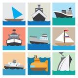 Illustration réglée eps10 d'icône de bateau Photos stock