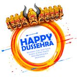 Ravana with ten heads for Dussehra. Illustration of Raavana with ten heads for Navratri festival of India poster with Hindi text meaning wishes for Dussehra Stock Images