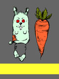 Illustration of rabbit and carrot. Illustration Rabbit and carrots. The bar graphic drawing toy hare and carrots Royalty Free Illustration