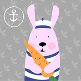 Illustration of rabbit and carrots Royalty Free Stock Photos