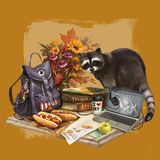 Illustration of raccoon going camping stock illustration