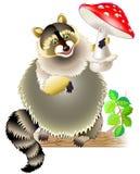 Illustration of raccoon holding mushroom. royalty free illustration